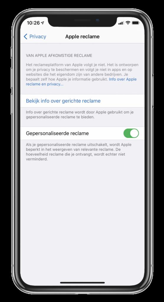 iPhone tracking uitschakelen